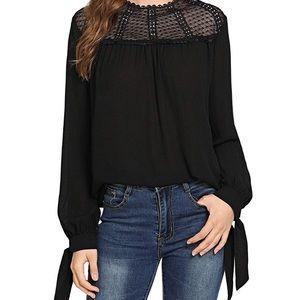 Tops - Black Chiffon Lace Long Sleeve Blouse